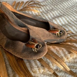 Anthropologie Brown Suede Flats with Beetle Detail